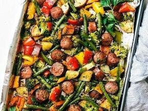 One Pan Garlic Parmesan Veggies and Sausage