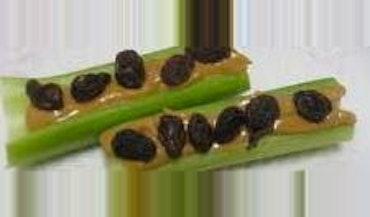 Celery with peanut butter & raisins