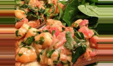 Bruschetta with Shrimp, Tarragon & Arugula
